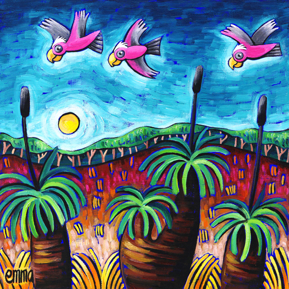 Galahs and Grass Trees