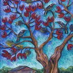 'Flame tree over Rosa's cottage' SOLD