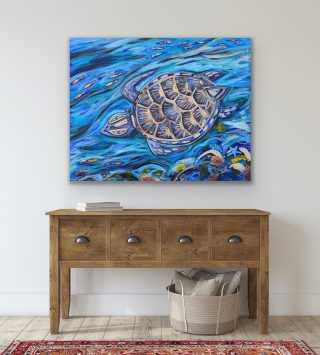 'Turtle Spotting' acrylic and bronze leaf on stretched canvas 120 x 96cm. Available for sale ✨...#emmablyth #art #gallery #visitwa #capeleveque #originalart #waartist #dampierpeninsula #blackstumpgallery #australia #australianart #waartist #original #interiorstyle #artworkaustralia #australianmade #interiordesign #color #colorpop #home #colourfulhome #artforsale #colorfulinterior #affordableart #interiorstylist #oneofakind #thisiswa #australianartist