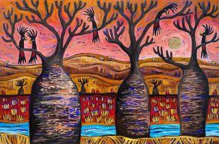 'Sunset Chatter' acrylic and gold leaf on canvas 120x80cm. Available for sale ✨..#emmablyth #art #kimberleyartist  #blackstumpgallery #visitbroome #AmazingKimberley #anotherdayinwa #australiasnorthwest #sobroome #australianart #outbackart #madeinwa #BroomeTime #australianinspired #kimberleyart #magickimberley #lovebroome #thekimberleyaustralia #broomeart #visitwa #westisbest #amazing_wa #travelaus #exploreaustralia #broomewa #broomeartist #wanderoutyonder #seeaustralia #ThisIsWA #explorewa #seeaustralia