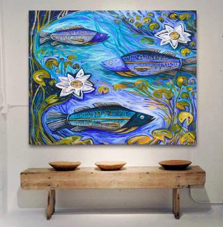 'The Barra Hole' acrylic on canvas 150x120cm. Original available and I am producing prints of this piece 🐟 Link in bio for details....#emmablyth #art #gallery #visitwa #prints #canvasprint #barra #barramundi #blackstumpgallery #australia #australianart #waartist #original #interiorstyle #artworkaustralia #australianmade #interiordesign #color #colorpop #home #colourfulhome #artforsale #colorfulinterior #affordableart #interiorstylist #oneofakind #thisiswa #australianartist